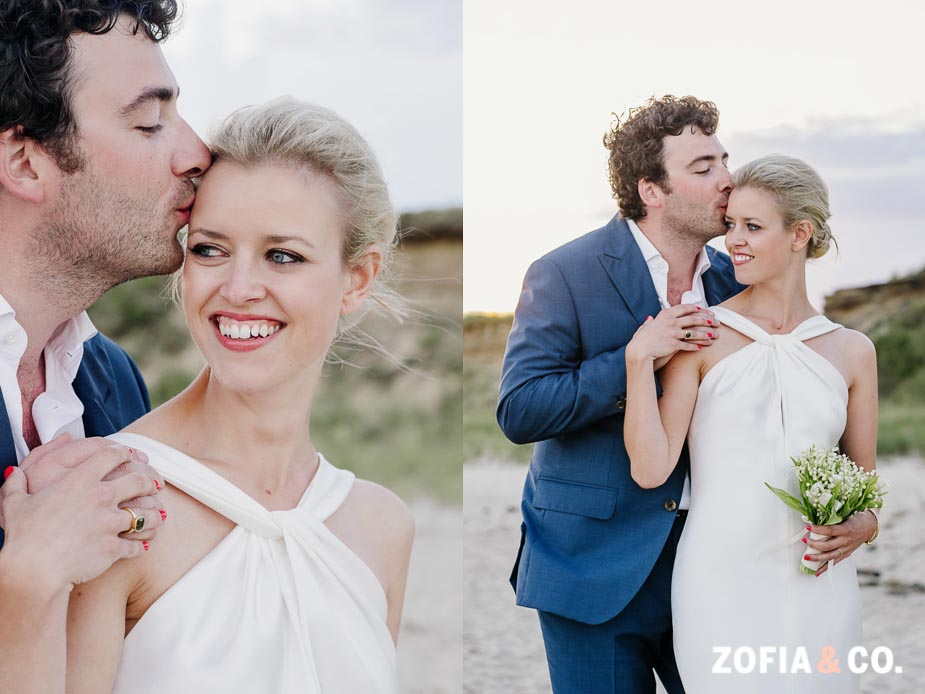 Nantucket bride and groom by Zofia & Co.